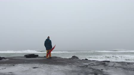 narciarz : Man walking along the ocean with snowboard, in Kamchatka, filmed on the action camera, frame shot on a freeride tour in Kamchatka volcanoes Wideo