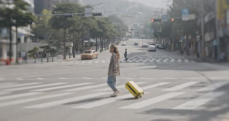border crossing : Young beautiful woman with yellow bag crossing the traffic road with manhole cover, smoke in New York, America. shot on Canon camera with 12 bit color depth. Stock Footage