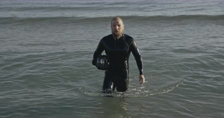 marine technology : Professional freediver underwater photographer, filmed on cinema camera, 12 bit color