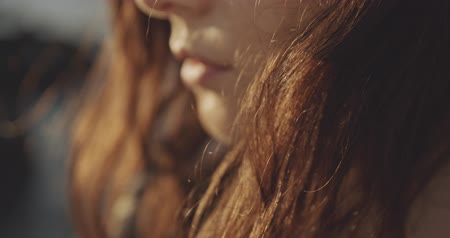 закрытыми глазами : Macro of sad young female face, filmed on cinema camera, 12 bit color