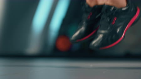 broca : Exercises with Jump Rope in a Gym. Sport, fitness, lifestyle, beauty concept. Filmed on cinemacamera. Stock Footage