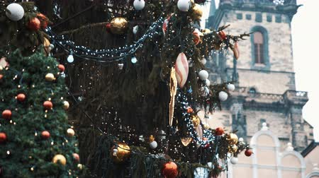 namesti : Xmas firtree at Old Town Square, Prague. Filmed on RED camera, 10 bit clolor Stock Footage