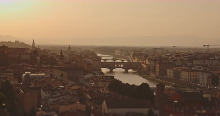 ansichtkaart : Panoramic view of sunset Florence city. Travel, lifestyle, urban concept. Filmed on RED 4k, 12 bit color Stockvideo