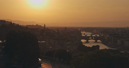 ansichtkaart : Dramatic panoramic view of Florence city at sunset with mountains in background. Travel, lifestyle, urban concept. Filmed on RED 4k, 12 bit color