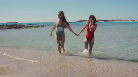 lesbijki : Two lovely young lesbian girls on the beach. Lesbian, lgbt, gay, friendship, travel, relationship concept. Lifestyle, blogger, travel, freedom concept. Wideo