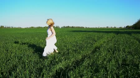 hand feed : A beautiful girl in a three-dimensional dress runs through the field.