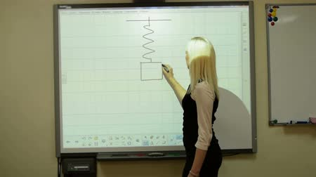 fizik : Teacher of physics using interactive whiteboard