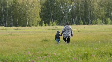 Grandmother and little granson walking in the countryside holding hands. Family leisure outdoor