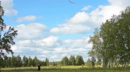 коршун : Child wants to fly a kite with grandad. Active family leisure outdoor, having fun with grandfather