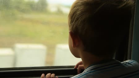 Little boy traveling by train. Child is curious and looking at passing landscapes through the window Стоковые видеозаписи