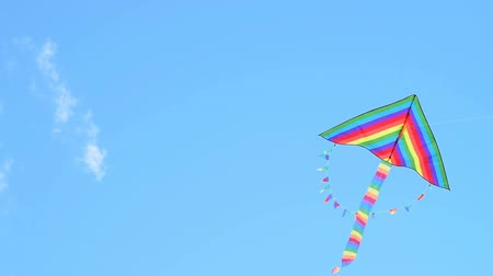 Big rainbow coloured kite hovering in blue sky