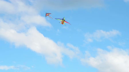 Two flying rainbow coloured kites in blue sky Стоковые видеозаписи