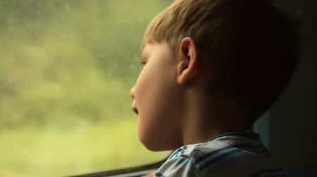 Curious little boy looking out the window during train journey Стоковые видеозаписи