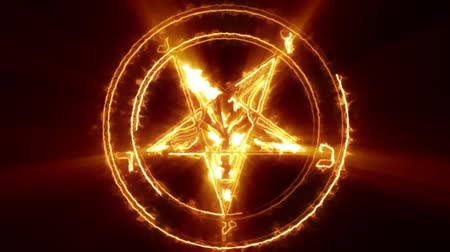 dia das bruxas : Baphomet Pentagram Symbol is a cool scary animation of energy flow and shines, which outline the satans symbol. It perfect to use on VJ thematic sets, metal and gothic festivals, halloween parties or your performances.