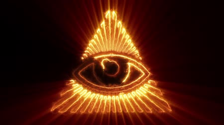 видя : The Eye of Providence Loop is a symbol showing an eye often surrounded by a magic fire of a light or a glory. It represents the eye of God watching over mankind. It is looped and can be used in your next historical or religion videos.
