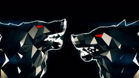 řev : Low Poly Wolf Head VJ Loop - stock motion graphics features a low poly wolf head stylized like the Sin City or a Frank Miller Cartoon. The head turns and roars, with red stripes pulsating in the background. VJ sets, dance floors, and events.