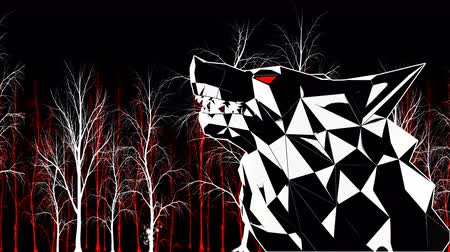 kükreme : Low Poly Wolf Head VJ Loop - stock motion graphics features a low poly wolf head stylized like the Sin City or a Frank Miller Cartoon. The head turns and roars, with red stripes pulsating in the background. VJ sets, dance floors, and events.