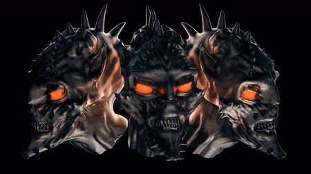 Devil Heads VJ Loop - This motion graphic features a moving devil heads. It is perfect for VJ thematic sets, metal and gothic festivals and Halloween parties. Add this to TV and movie sequences, video games, vlogs, and social media posts. Layers may be ad