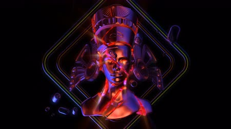 kraliçe : Cracked Nefertiti Heads VJ Loop - is a stunning ancient motion graphic illustration featuring a close-up view of Egypt. Perfect to use in the ancient videos, Egypt graphics, thematic VJ sets, futuristic sceneries, movie trailers and much more! Stok Video