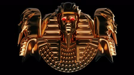 faraon : Golden Pharaoh Heads VJ Loop - is a stunning ancient motion graphic illustration featuring a close-up view of Egypt Ruler face with bright red eyes. Perfect to use in the ancient videos, Egypt graphics, thematic VJ sets, futuristic sceneries, movie traile