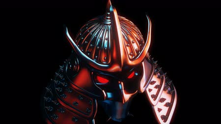 Samurai Helmet VJ Loop - features a close-up view of an ancient samurai helmet with glowing and shining edges. Perfect to use in the ancient videos, japanese graphics, video games, thematic VJ sets and much more!