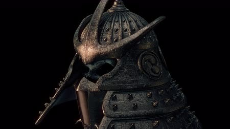 samuraj : Samurai Helmet VJ Loop - features a close-up view of an ancient samurai helmet with glowing and shining edges. Perfect to use in the ancient videos, japanese graphics, video games, thematic VJ sets and much more!