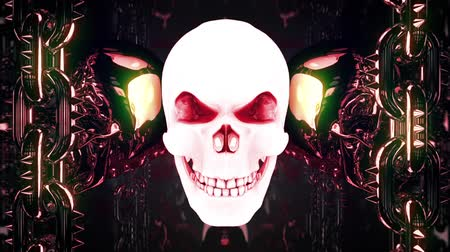Gloving Metal Skull Loop - cool motion graphics which represent rotating and flashing skulls with shiny moving metal chains on left and right sides. It will be perfect for your next VJ sets, parties, halloween promos and events.
