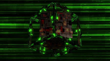 The Techno Cube VJ Loop is a stunning sci-fi motion graphics featuring a close up view of a futuristic cube made from chips and plates rotating, showing different angles and colored lights! Its perfect for use as cyberpunk industrial graphics, for games