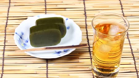 bamboo curtain : Japanese sweets Yokan and barley tea