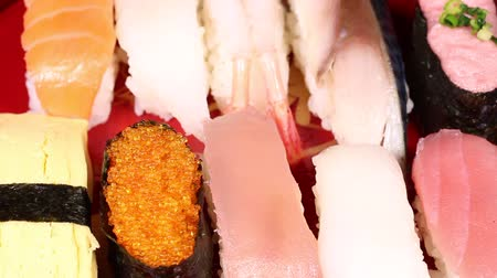 prawns : Japanese cuisine Sushi Stock Footage