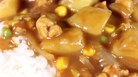 batatas : Close up of Japanese curry rice Stock Footage