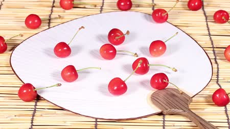 bamboo curtain : Sweet ripe cherry Stock Footage