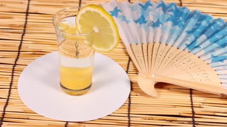 bamboo curtain : Fresh fruit juice Stock Footage