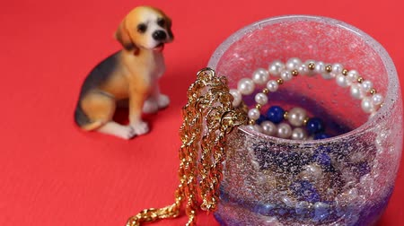 naszyjnik : Gold and pearl accessories and dog ornament