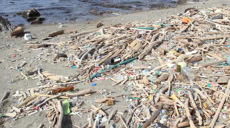 dirty beach : Pollution on the beach in japan Stock Footage