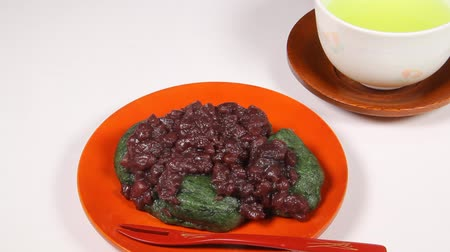 rice cake : Japanese mugwort rice cake with red beans
