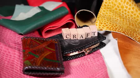 продукты : Piece of leather crafts and alphabet letters