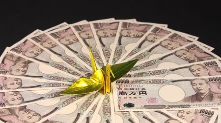 mevduat : 10000 Yen bills and paper crane