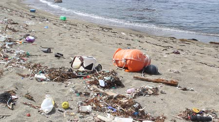 natural resource : Trash on the Beach in Japan Stock Footage
