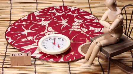 bamboo curtain : Thermometer and japanese fan and wooden doll
