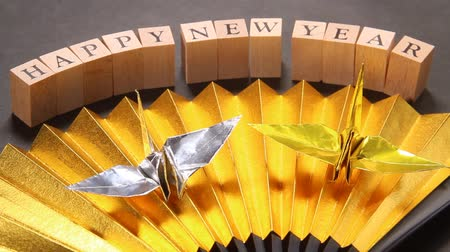 ventaglio : New year images  Folding fan and Paper Crane