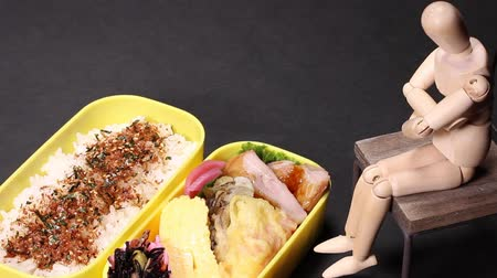 tempura : Bento (lunch box) and Wooden Doll Stock Footage