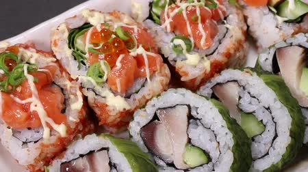 majonez : Japanese Seafood rolls Close up