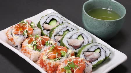 majonéz : Japanese Seafood rolls and Tea Stock mozgókép