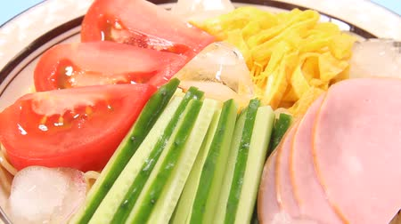 cucumber : Hiyashi Chuka, Japanese Cold Noodles Salad Stock Footage