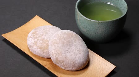 rice cake : Japanese food Tochimochi and Tea Stock Footage