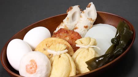 oden : Ingredients of Oden (Japanese food) Stock Footage
