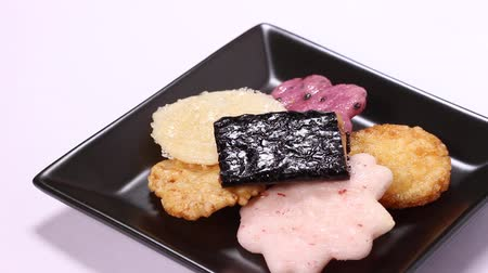 rice cake : Okaki, Japanese rice crackers on a plate