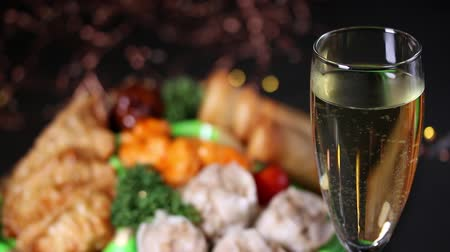 hors doeuvres : Illumination and food and drink Stock Footage