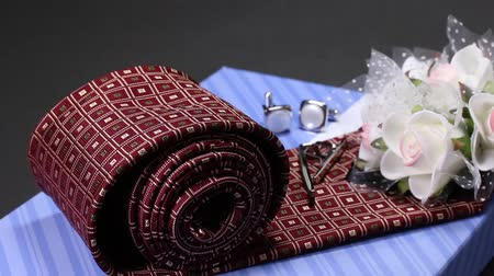 manşet : Present image, Tie and tie pin and Cufflinks Stok Video